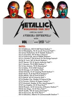 Metallica WorldWired United States Tour 2017 | Metallica | Avenged Sevenfold | Gojira | Volbeat