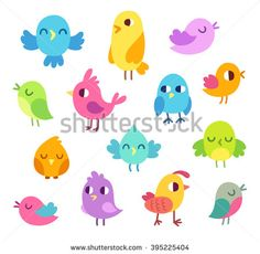 Cute cartoon birds doodle set. Bright and simple vector illustration. Isolated design elements.