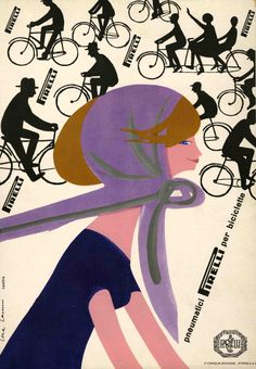 ✔️ Lora Lamm, advertisement for Pirelli bicycle tyres, 1960