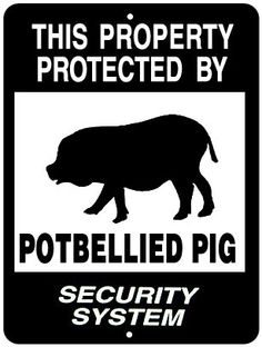 THIS PROPERTY PROTECTED BY POTBELLIED PIG SECURITY SYSTEM