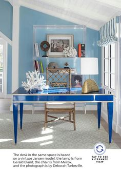 Love Love this blue desk (from Architectural Digest August 2013)