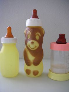 Vintage Baby Bottles Plastic Set of 3 Bear by TheBackOfTheBasement, $14.00