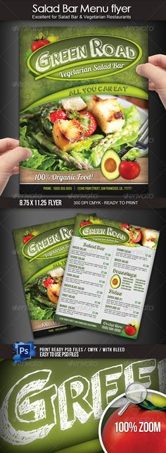 Salad Bar Menu Flyer  #GraphicRiver         This is a beautiful food menu design for a Salad Bar food restaurant! You can use this flyer to advertise your business and promote your menu items with style. This 8.5×11 (with bleed area) 300 dpi CMYK flyer can be easily personalized with your own information, prices, pictures, etc. You are free to add your personal touch and have a professional designed menu flyer in minutes. This file does not include food images used on sample.  	 Your…