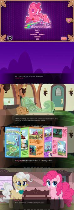 #1645508 - artist:niggerfaggot, artist:spookitty, brochure, castle, derpibooru exclusive, fangame, friendship castle, game, mayor mare, movie style, pinkie pie, ponyville, safe, screencap, sweet apple acres, town hall, twilight sparkle, visual novel - Derpibooru - My Little Pony: Friendship is Magic Imageboard