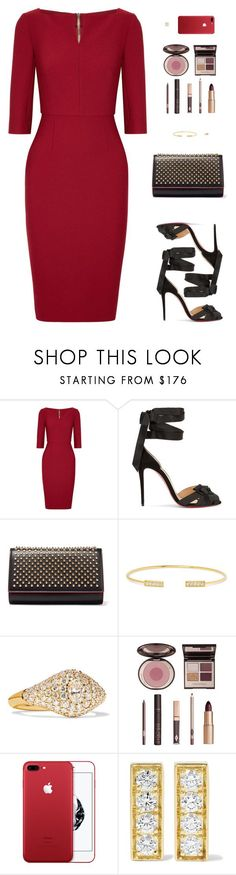 """Sin título #4640"" by mdmsb on Polyvore featuring moda, Roland Mouret, Christian Louboutin, Jemma Wynne y Charlotte Tilbury"