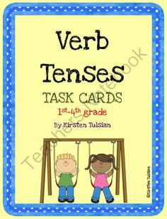 Verb Tenses from KirstenTulsian on TeachersNotebook.com -  (30 pages)  - These Common Core aligned Verb Tenses Task Cards for 1st-4th grade includes 7 pages of explanations of past tense, present tense and future tense verbs, followed by 36 task cards.