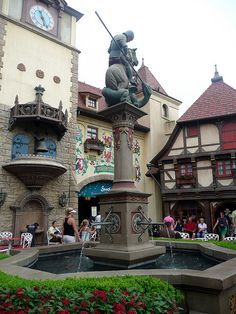 Yet another country in Epcot's World Showcase is Germany.  As you enter the quaint little German village, you are greeted with cobblestone streets, a gorgeous fountain and beautiful architecture, including a chiming clock tower.
