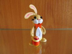 Easter bunny Easter ornament handmade home by MayasPaperFantasy Paper Quilling Patterns, Quilling Paper Craft, Quilling Craft, Quilling Designs, Quilling Ideas, Paper Ornaments, Handmade Ornaments, Handmade Rakhi, Quilling Animals