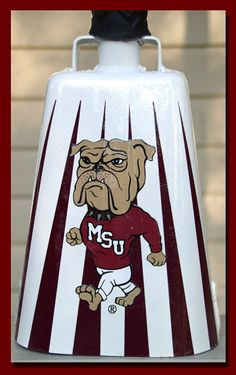 MSU bulldogs cowbell maroon and white