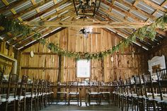 rustic barn - love pine boughs, color and scent with white lights