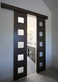 Double bathroom entry doors with frosted glass panels | Decolover.net