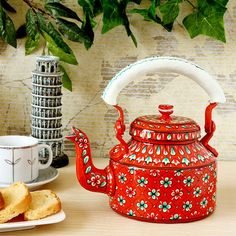 Kaushalam Tea Kettle Orange & White - FabFurnish.com-Kitchen-Decor