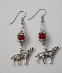 Hope's Little Angels » Wolf Red Glass Bead Dangle Earrings Handmade