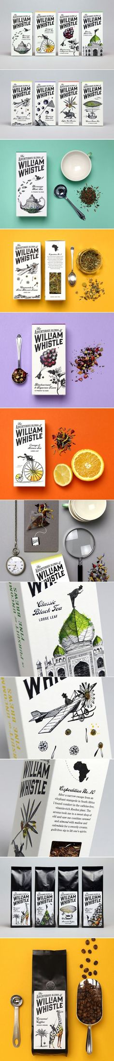 Beautifully Victorian-esque packaging -- yet MUCH cleaner than Victorian style! Adventures of William Whistle popular tea & coffee brand packaging PD Vintage Packaging, Coffee Packaging, Pretty Packaging, Brand Packaging, Web Design, Label Design, Branding Design, Package Design, Food Design