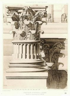 Portique D'Octavie a Rome - Column Detail. Edmond Jean Baptiste Paulin. French 1848-1915. pen and ink wash. http://hadrian6.tumblr.com