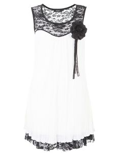 Lace Neck Corsage Pleat Dress - Womens Clothes, Ladies Clothes, Womens Fashion and Dresses | Miss Rebel