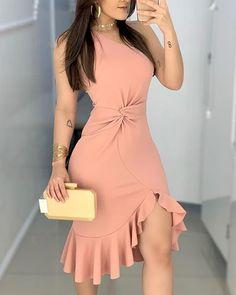 2020 Women Fashion Elegant Lady Dress Party Sweet Workwear Dress Casual One Shoulder Waist Twisted Ruffles Hem Dress Trend Fashion, Fashion Outfits, Fashion Women, Style Fashion, African Fashion, Party Dresses For Women, Elegant Woman, Ruffle Dress, The Dress