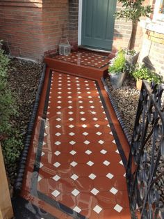Victorian tiles eduardian path ,octagons , 50mm,53mm 100mm,150mm Front Verandah, Front Porches, Victorian Front Garden, Front Path, Victorian Tiles, Front Gardens, Tiling, Walkways, Spanish Style