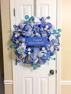 Happy Hanukkah Wreath with Menorah and Dreidel Handmade Deco Mesh