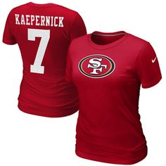 Nike Colin Kaepernick San Francisco 49ers Women's Name  Number Premium T-Shirt - Scarlet