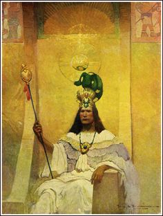 "Montezuma by Frank E. Schoonover from ""With Cortes the Conqueror"" by Virginia Watson (1917)"