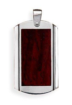 Stainless Steel Wood Inlay Pendant, 2 inch (incl bail) Silver Messages. $16.99