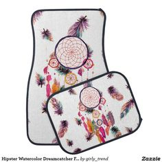 Hipster Watercolor Dreamcatcher Feathers Pattern Car Mat - Car Floor Mats and Automobile Accessories