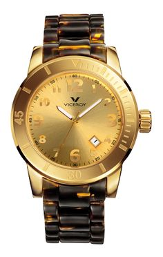 Gold and turtle shell watch