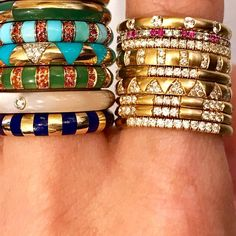 These Marc Alary ring stacks! Ice Ice Baby, Bangles, Bracelets, Stacking Rings, Gems, Style Inspiration, Jewels, Thursday, Accessories