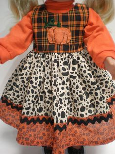 handmade 18 inch doll clothes fit American Girl Dolls Pumpkin Jumper. $20.00, via Etsy.