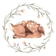 """Little Blue Nest"" - Patterns for baby cotton swaddles Hirsch Illustration, Deer Illustration, Watercolor Illustration, Watercolor Paintings, Autumn Animals, Woodland Animals, Deer Drawing, Painting & Drawing, Drawing Drawing"