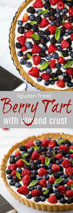 Gluten Free Berry Tart filled with a creamy greek yogurt cheesecake filling and an Almond Crust. This beautiful Berry Tart is a light dessert that's perfect for the summer!