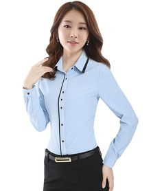 blusas camisas mujer on sale at reasonable prices, buy New 2019 Women's Shirt Long Sleeve Women Blouses Ladies Office Shirts Tops White Shirt Female Blusas Camisa Mujer from mobile site on Aliexpress Now! Ladies Shirts Formal, Formal Wear Women, Shirts For Girls, Preppy Outfits, Cool Outfits, Fashion Outfits, Button Up Shirt Womens, The Office Shirts, Professional Outfits