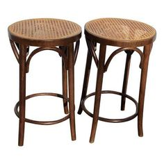 Image of Bentwood and Cane Stools - A Pair Kitchen Stools, Bar Stools, Kitchen Dining, Pooja Rooms, Compact Living, Rattan Furniture, Decorating Small Spaces, Coastal Living, Living Spaces