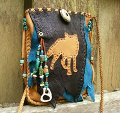 COYOTE Deerskin Leather medicine bag / Spirit Totem pouch with Coyote bone, coyote claws, deer antler, antique trade beads