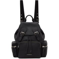 6b364ad652df Burberry Black Leather Rucksack ($2,095) ❤ liked on Polyvore featuring  bags, backpacks, black, leather drawstring backpack, leather backpack,  burberry, ...