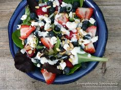 Red, White & Blueberry Salad with Goat Cheese, Toasted Almonds & a Honey Ginger Lime Yogurt Dressing