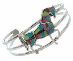 Turquoise And Multicolor Inlay Sterling Silver Horse Cuff Bracelet BW70070 SilverTribe. $118.79
