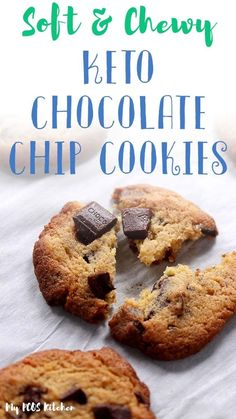 These low carb chocolate chip cookies are easy to make and they're the best keto cookie recipe you'll ever make! Super soft and chewy, these low carb cookies are sweetened with allulose! Keto Cookies, Low Carb Chocolate Chip Cookies, Sugar Free Cookies, Sugar Free Chocolate Chips, Chocolate Recipes, Muffins, Low Carb Deserts, Dessert For Dinner, Low Carb Recipes