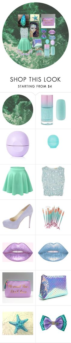 """""""Mermaid Inspired"""" by merrykate2000 ❤ liked on Polyvore featuring Forever 21, Eos, LE3NO, Lace & Beads, Brian Atwood, Lime Crime and Disney"""