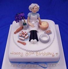 Resultado de imagen para decoracion de tortas para 80 años abuelita cocinera