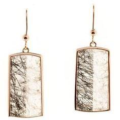 Peter Suchy Transparent Quartz Crystal Rose Gold Dangle Earrings