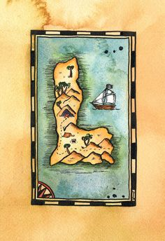 Letter L Treasure Map / 5 x 7 Archival Print / by paintandink
