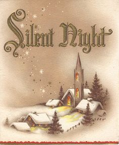 Brand New Vintage Style Christmas Rubber Stamp Silent Night Holy Night