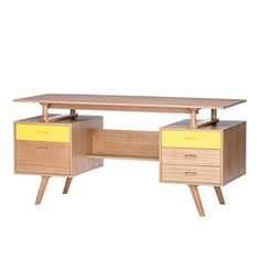 Explore a sophisticated collection of stylish modern retro furniture in Melbourne and Australia wide with RJ Living! Our retro modern furniture brings past and modern designs together to bring your space to life. Scandinavian Office Furniture, Scandinavian Desk, White Desk Office, Office Workspace, Yellow Desk, Retro Coffee Tables, Living Room Furniture Online, Retro Living Rooms, Retro Office