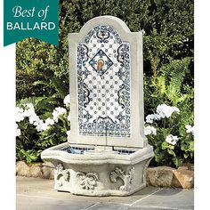 Where can I find outdoor fountains, water features and firepits for the garden? Shop outdoor fountains, firepits and fireplaces. Get the best new patio decor for sale at Ballard Designs! Outdoor Wall Fountains, Garden Fountains, Outdoor Walls, Outdoor Living, Backyard Garden Landscape, Modern Backyard, Balcony Garden, Garden Planters, Water Features In The Garden