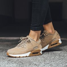 Nike Air Max 90 x Premium Tan Sneakers, Tan Shoes, Cute Shoes, Sneakers Fashion, Me Too Shoes, Shoe Boots, Fashion Shoes, Beige Nike Shoes, Nike Shoes Men