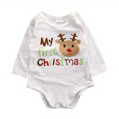 Babies 1st Christmas. Onsie. Holiday outfit. Christmas suit. Reindeer. Long sleeve. Baby boy clothes. Baby girl clothes. Newborn clothing.