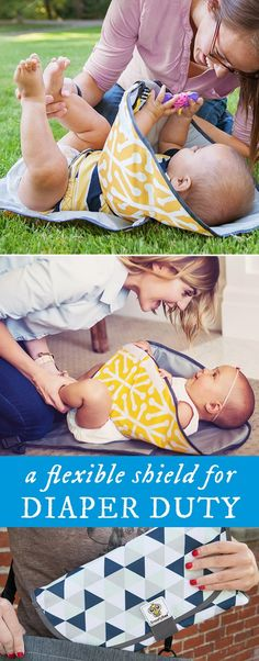 Block squirmy (and grabby) babies with a soft shield. This changing station keeps little hands at a safe distance, doubles as a play mat, and folds up easily, too.