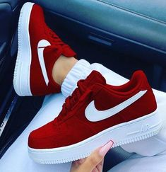 Discovered by ♡𝒮𝓌𝑒𝑒𝓉𝓀𝑒𝒶𝓇𝓉♡. Find images and videos about shoes, red and nike on We Heart It - the app to get lost in what you love. Sneakers Fashion, Fashion Shoes, Fashion Outfits, Jordan Shoes Girls, Nike Shoes For Girls, White Nike Shoes, Nike Shoes Air Force, Air Force Sneakers, Cute Sneakers